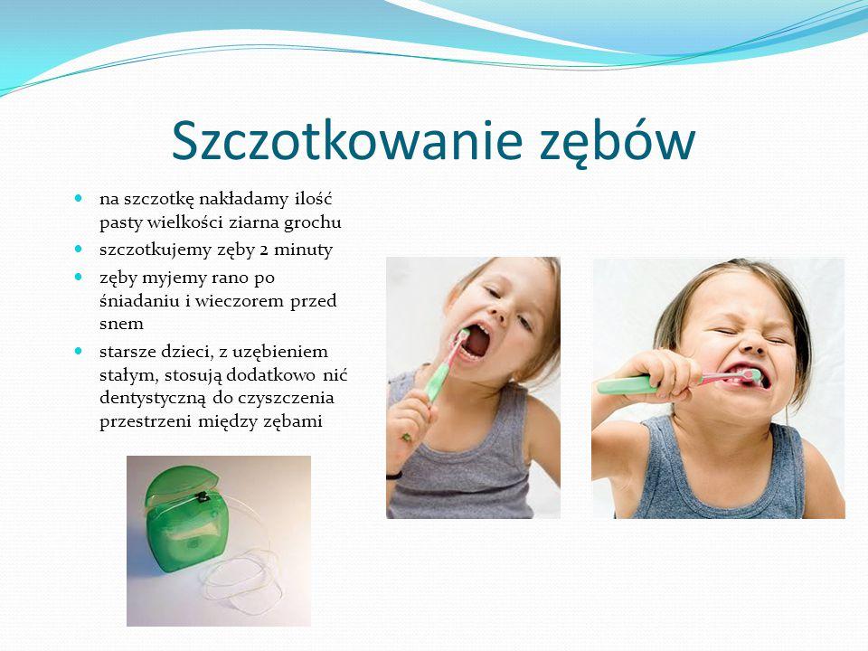 Szczotkowanie zębów na szczotkę nakładamy ilość pasty wielkości ziarna grochu. szczotkujemy zęby 2 minuty.
