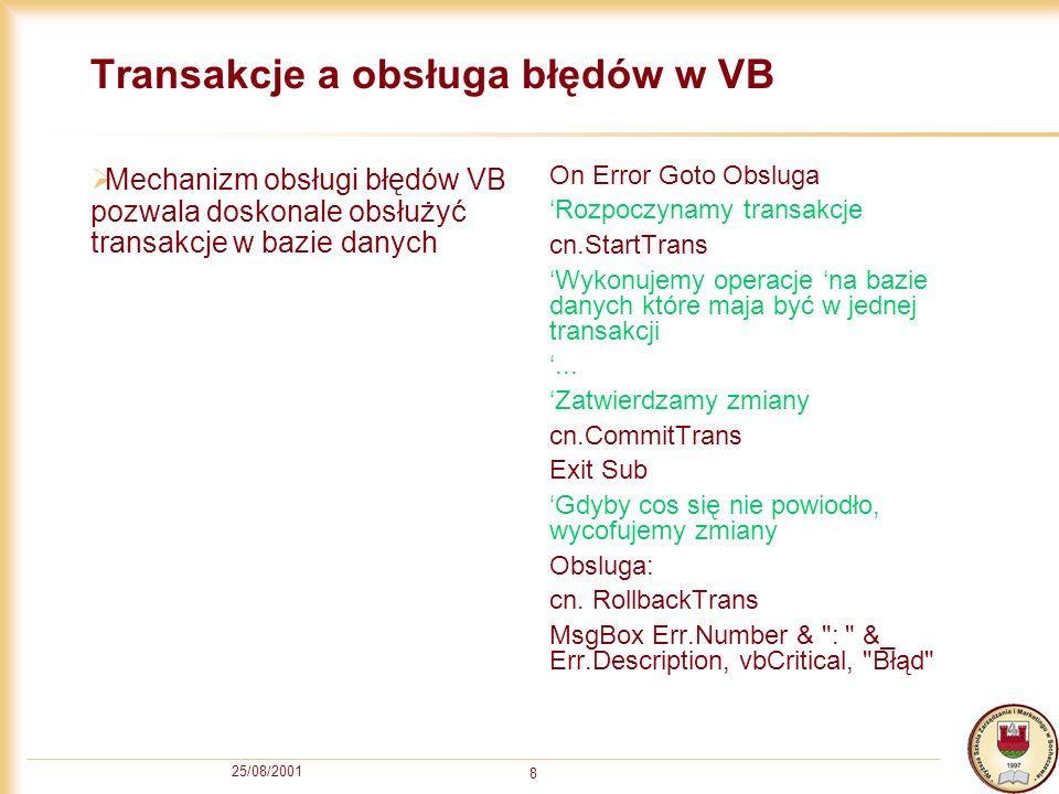 Transakcje a obsługa błędów w VB