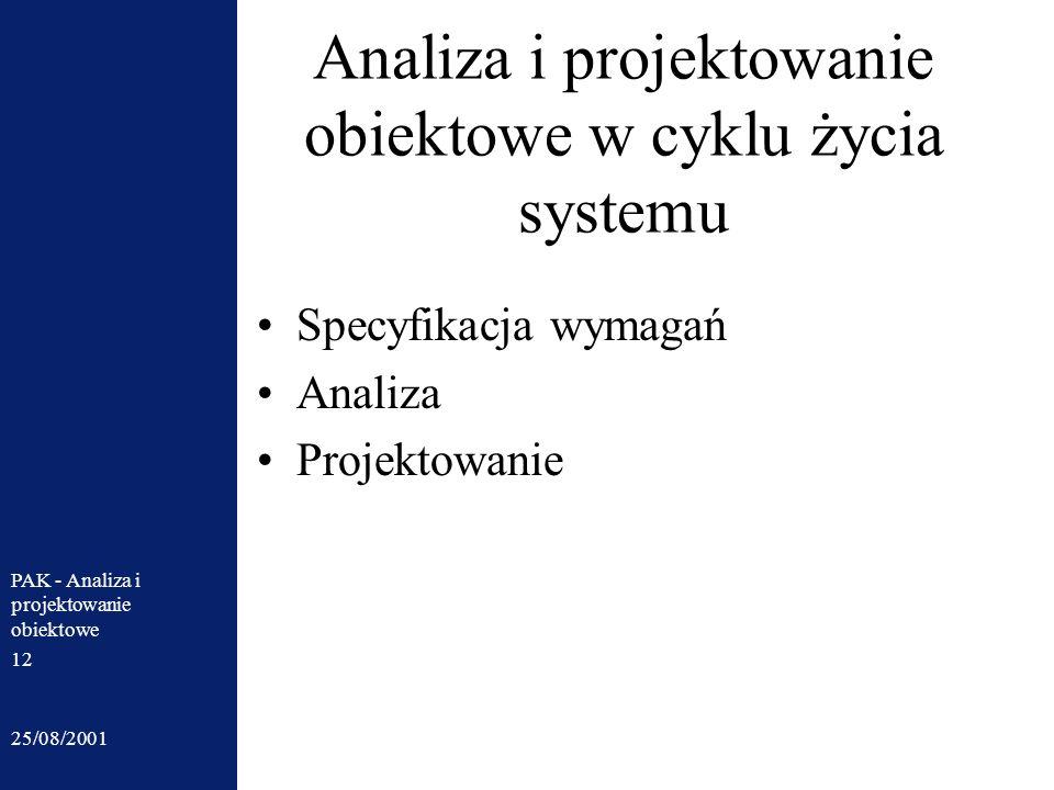 Analiza i projektowanie obiektowe w cyklu życia systemu