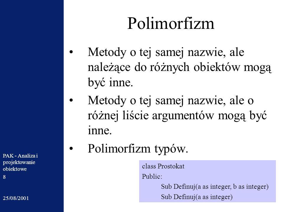Polimorfizm Metody o tej samej nazwie, ale należące do różnych obiektów mogą być inne.