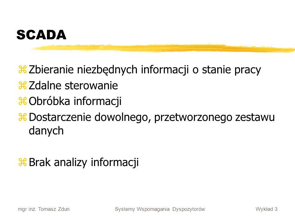 SCADA Zbieranie niezbędnych informacji o stanie pracy