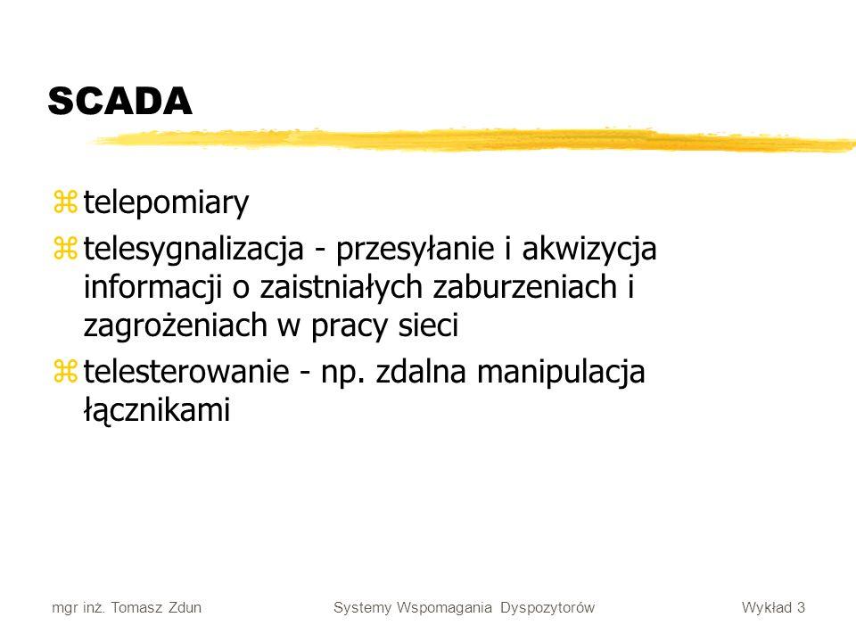 SCADA telepomiary. telesygnalizacja - przesyłanie i akwizycja informacji o zaistniałych zaburzeniach i zagrożeniach w pracy sieci.