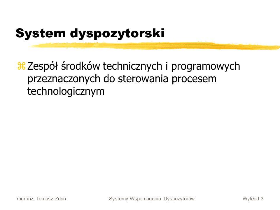 System dyspozytorski Zespół środków technicznych i programowych przeznaczonych do sterowania procesem technologicznym.