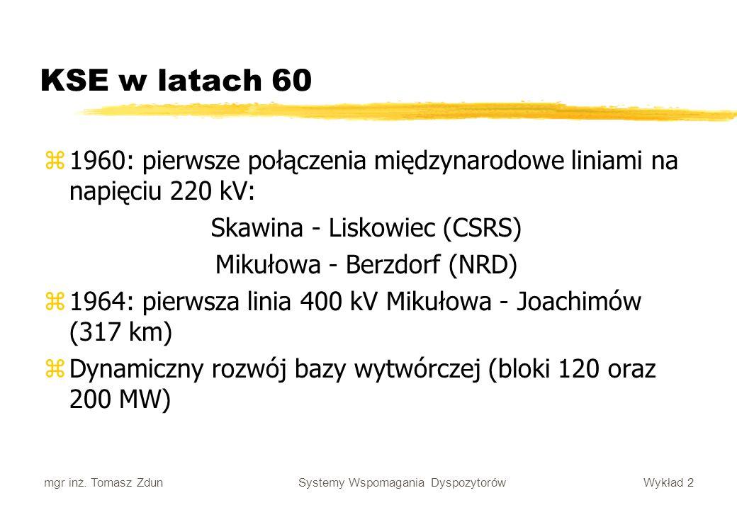 KSE w latach 60 1960: pierwsze połączenia międzynarodowe liniami na napięciu 220 kV: Skawina - Liskowiec (CSRS)