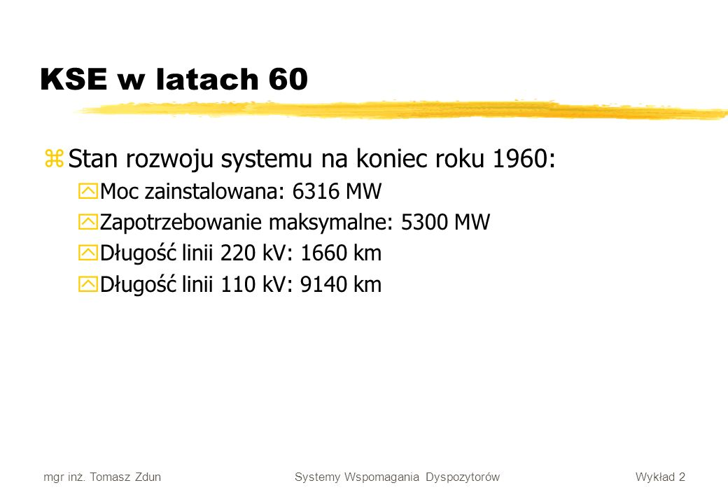 KSE w latach 60 Stan rozwoju systemu na koniec roku 1960: