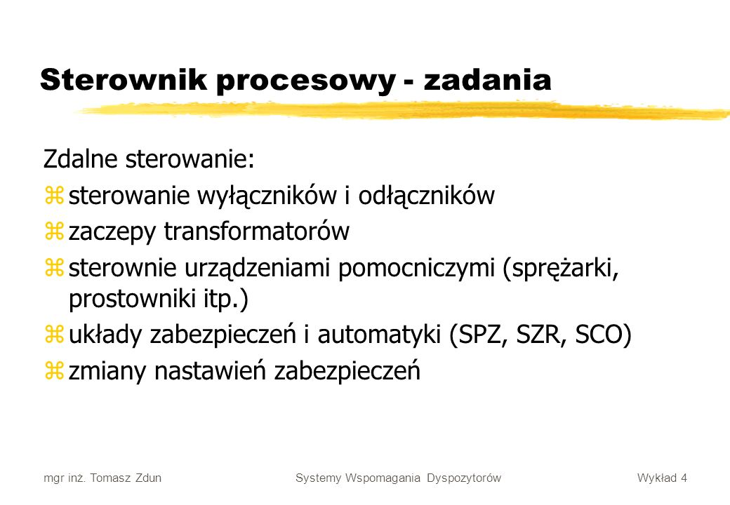 Sterownik procesowy - zadania
