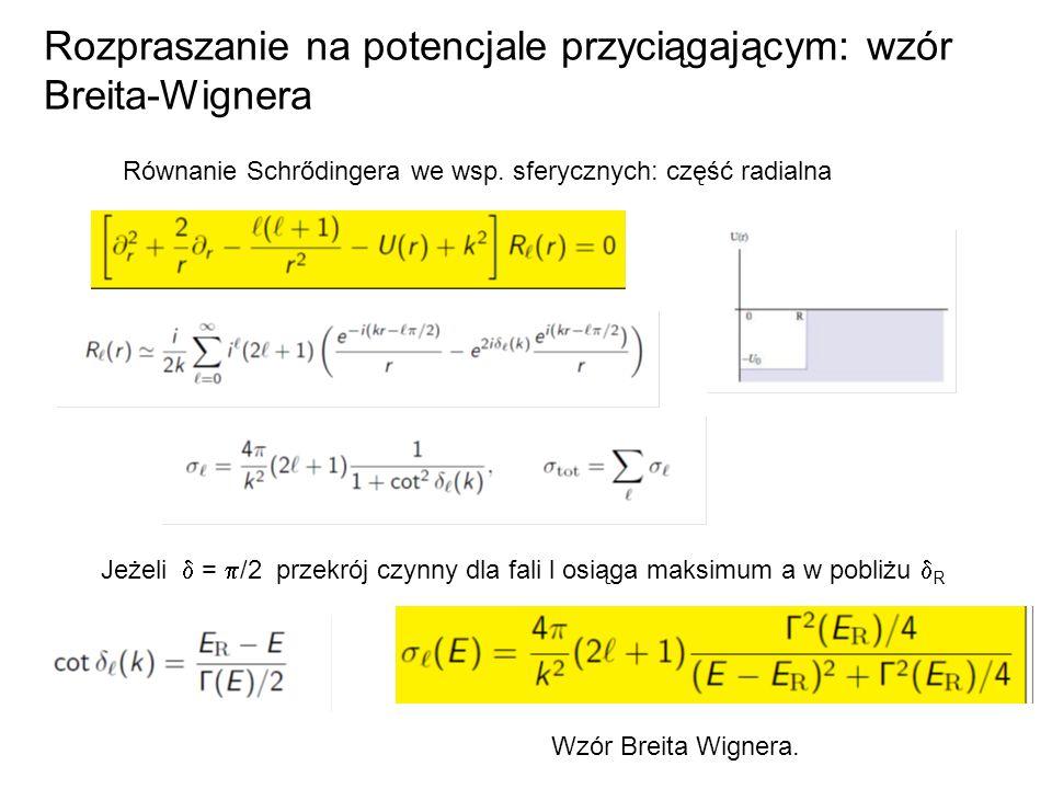 Rozpraszanie na potencjale przyciągającym: wzór Breita-Wignera