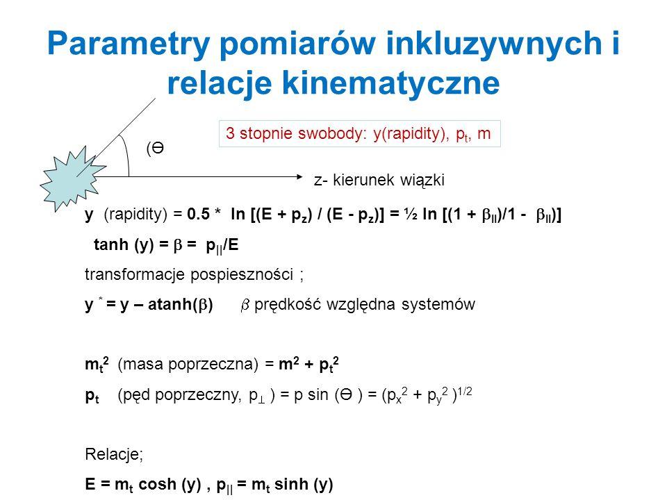Parametry pomiarów inkluzywnych i relacje kinematyczne
