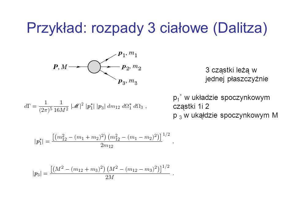 Przykład: rozpady 3 ciałowe (Dalitza)
