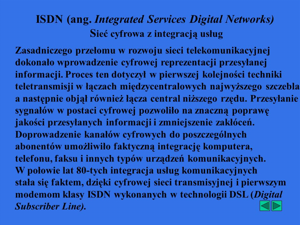 ISDN (ang. Integrated Services Digital Networks)