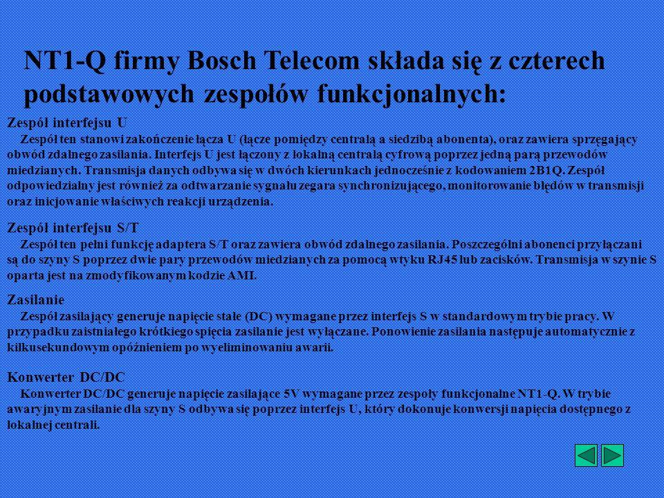 NT1-Q firmy Bosch Telecom składa się z czterech podstawowych zespołów funkcjonalnych: