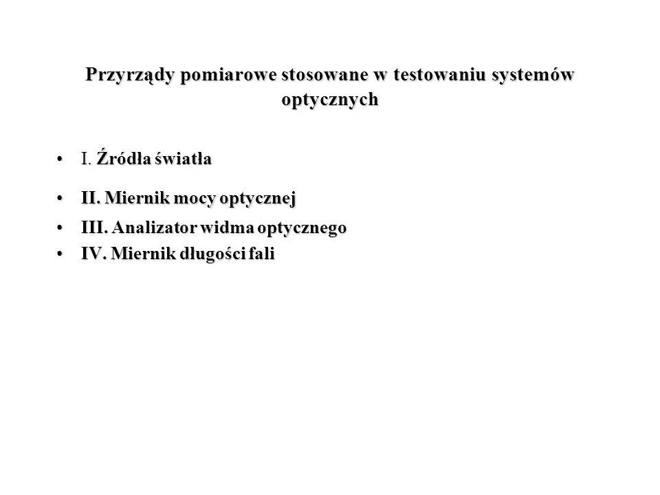 Przyrządy pomiarowe stosowane w testowaniu systemów optycznych