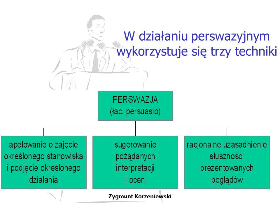 W działaniu perswazyjnym wykorzystuje się trzy techniki
