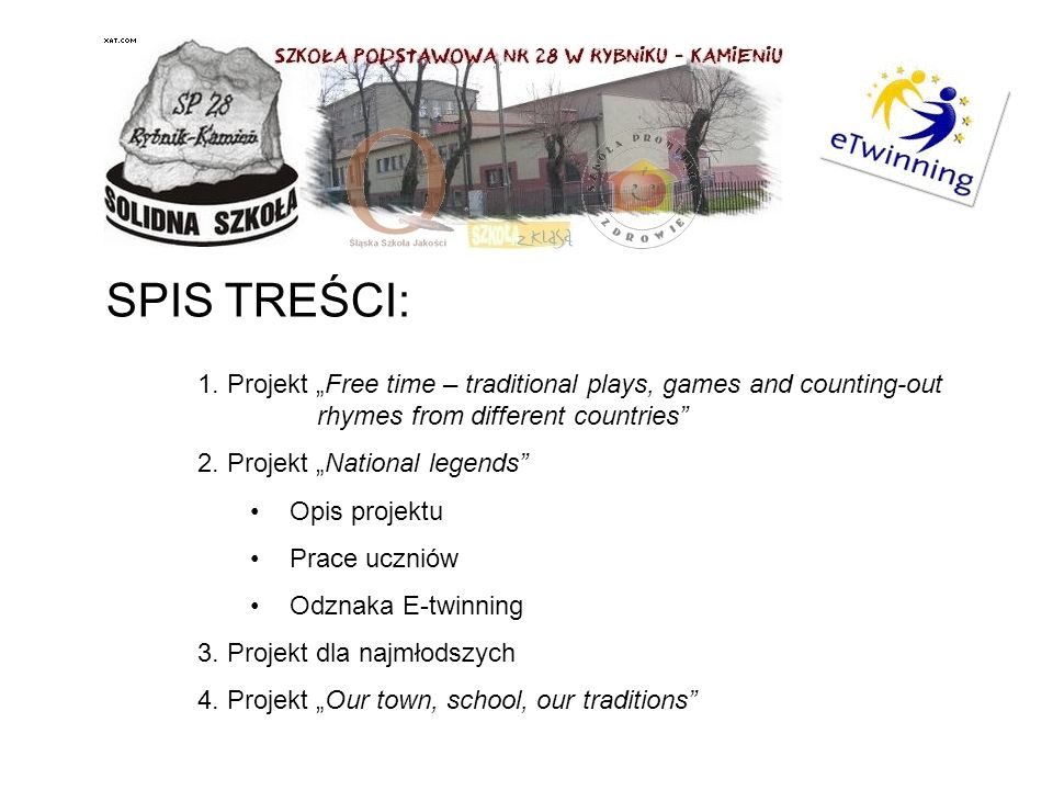 "SPIS TREŚCI: 1. Projekt ""Free time – traditional plays, games and counting-out rhymes from different countries"