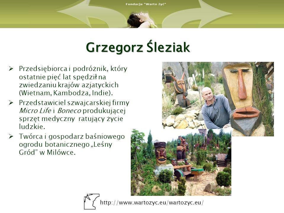 Grzegorz Śleziak Przedsiębiorca i podróżnik, który ostatnie pięć lat spędził na zwiedzaniu krajów azjatyckich (Wietnam, Kambodża, Indie).
