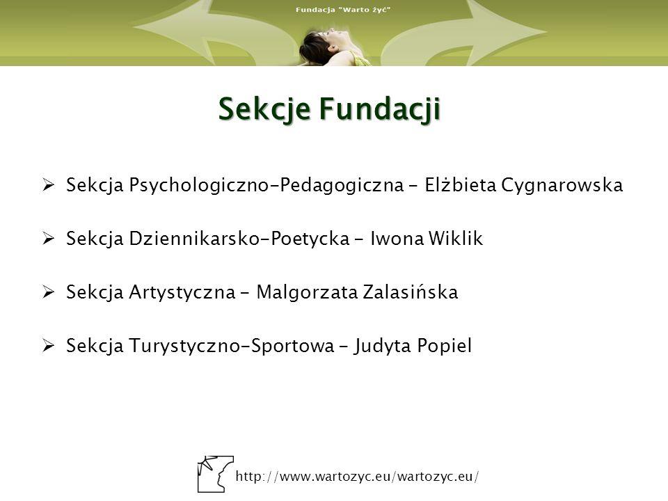 Sekcje Fundacji Sekcja Psychologiczno-Pedagogiczna - Elżbieta Cygnarowska. Sekcja Dziennikarsko-Poetycka - Iwona Wiklik.
