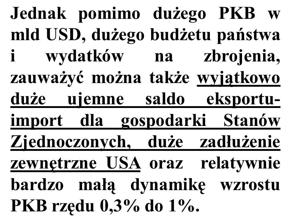 Jednak pomimo dużego PKB w mld USD, dużego budżetu państwa i wydatków na zbrojenia, zauważyć można także wyjątkowo duże ujemne saldo eksportu-import dla gospodarki Stanów Zjednoczonych, duże zadłużenie zewnętrzne USA oraz relatywnie bardzo małą dynamikę wzrostu PKB rzędu 0,3% do 1%.