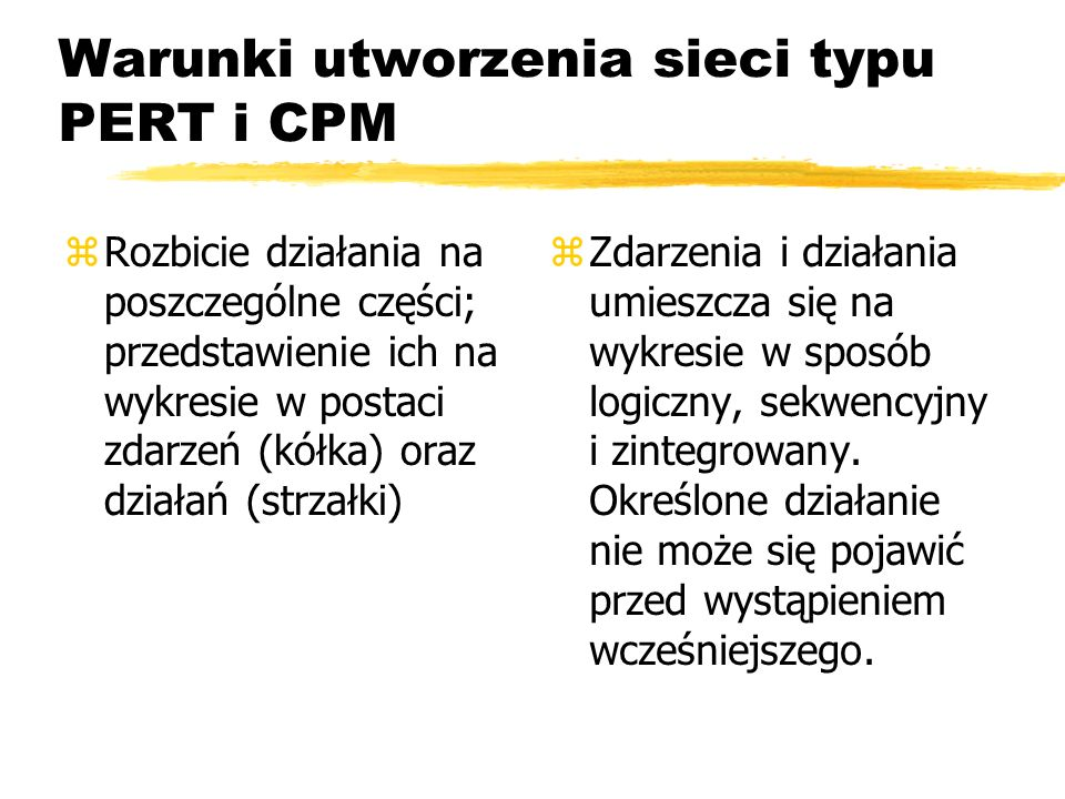 Warunki utworzenia sieci typu PERT i CPM