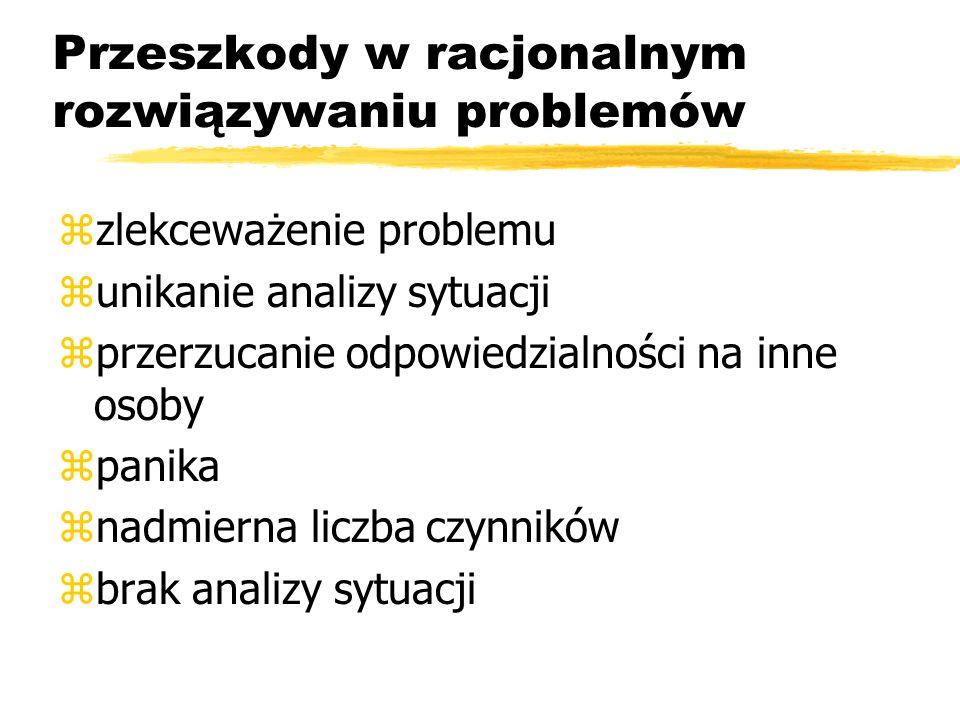 Przeszkody w racjonalnym rozwiązywaniu problemów