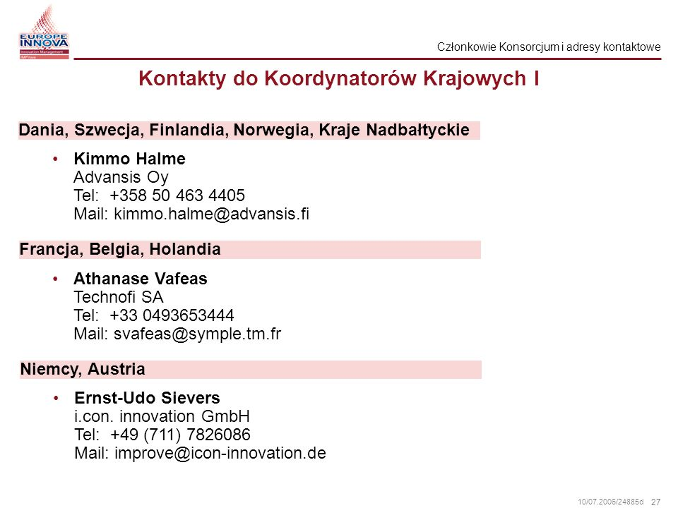 Kontakty do Koordynatorów Krajowych I