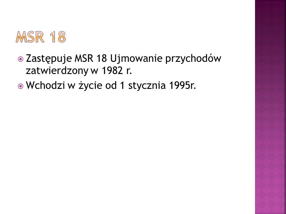 MSR 18 Zastępuje MSR 18 Ujmowanie przychodów zatwierdzony w 1982 r.