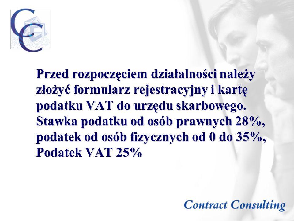 Przed rozpoczęciem działalności należy złożyć formularz rejestracyjny i kartę podatku VAT do urzędu skarbowego.