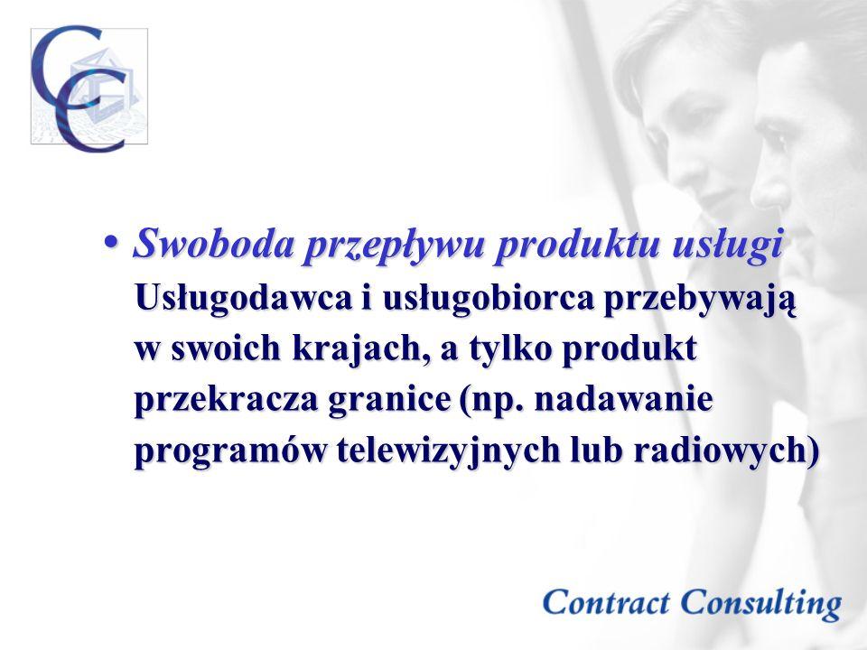 Swoboda przepływu produktu usługi Usługodawca i usługobiorca przebywają w swoich krajach, a tylko produkt przekracza granice (np.