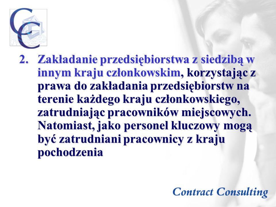 Zakładanie przedsiębiorstwa z siedzibą w innym kraju członkowskim, korzystając z prawa do zakładania przedsiębiorstw na terenie każdego kraju członkowskiego, zatrudniając pracowników miejscowych.