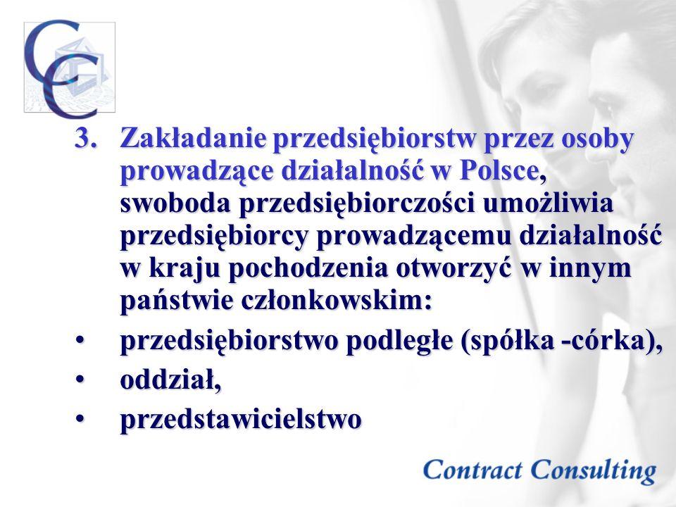 Zakładanie przedsiębiorstw przez osoby prowadzące działalność w Polsce, swoboda przedsiębiorczości umożliwia przedsiębiorcy prowadzącemu działalność w kraju pochodzenia otworzyć w innym państwie członkowskim: