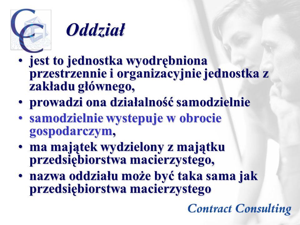 Oddziałjest to jednostka wyodrębniona przestrzennie i organizacyjnie jednostka z zakładu głównego, prowadzi ona działalność samodzielnie.