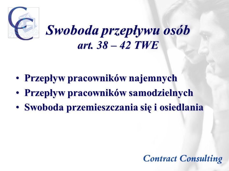 Swoboda przepływu osób art. 38 – 42 TWE