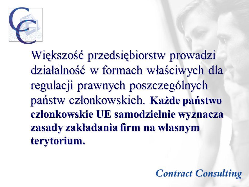 Większość przedsiębiorstw prowadzi działalność w formach właściwych dla regulacji prawnych poszczególnych państw członkowskich.