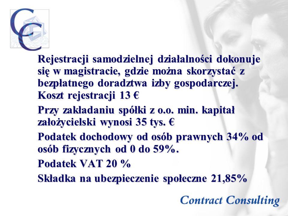 Rejestracji samodzielnej działalności dokonuje się w magistracie, gdzie można skorzystać z bezpłatnego doradztwa izby gospodarczej. Koszt rejestracji 13 €