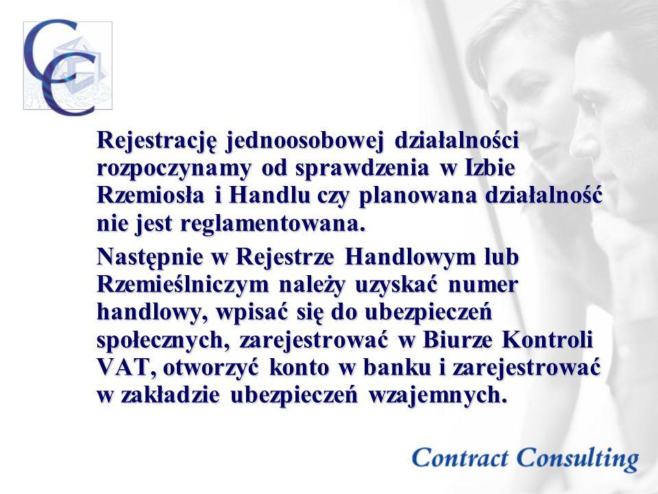 Rejestrację jednoosobowej działalności rozpoczynamy od sprawdzenia w Izbie Rzemiosła i Handlu czy planowana działalność nie jest reglamentowana.