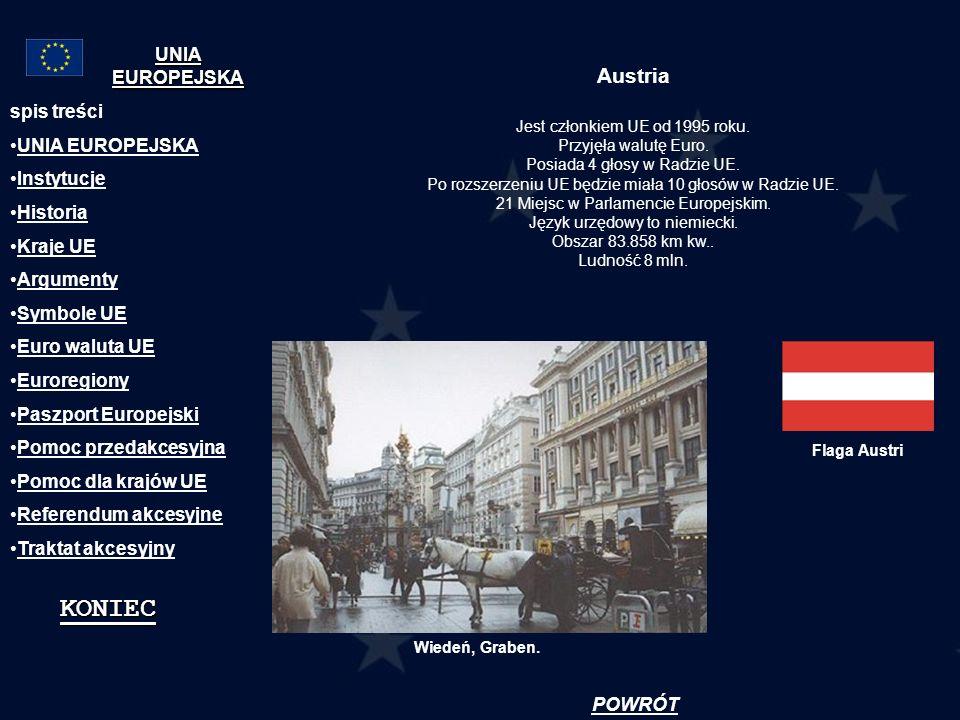KONIEC Austria UNIA EUROPEJSKA spis treści UNIA EUROPEJSKA Instytucje