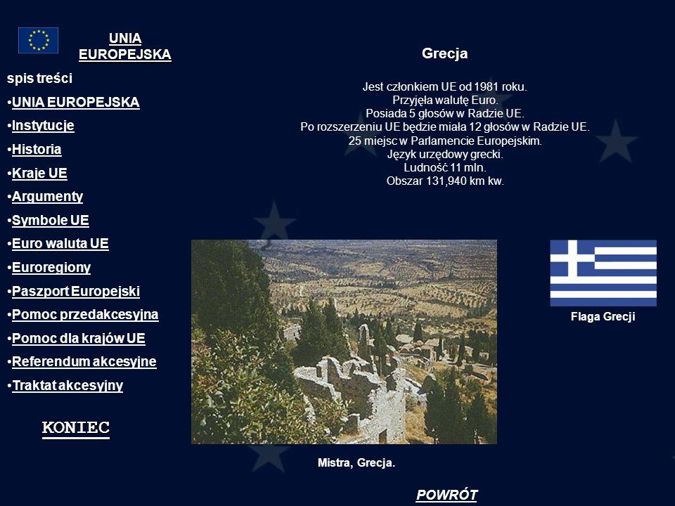 KONIEC Grecja UNIA EUROPEJSKA spis treści UNIA EUROPEJSKA Instytucje