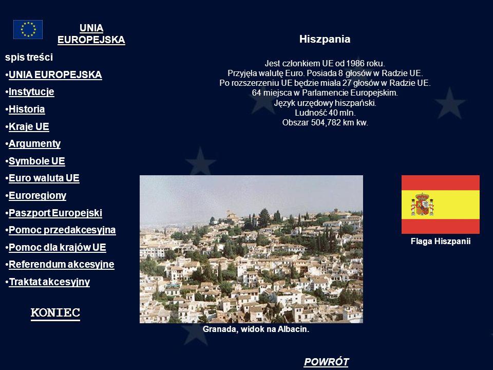 KONIEC Hiszpania UNIA EUROPEJSKA spis treści UNIA EUROPEJSKA