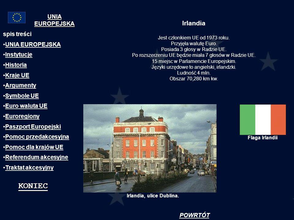 KONIEC Irlandia UNIA EUROPEJSKA spis treści UNIA EUROPEJSKA Instytucje