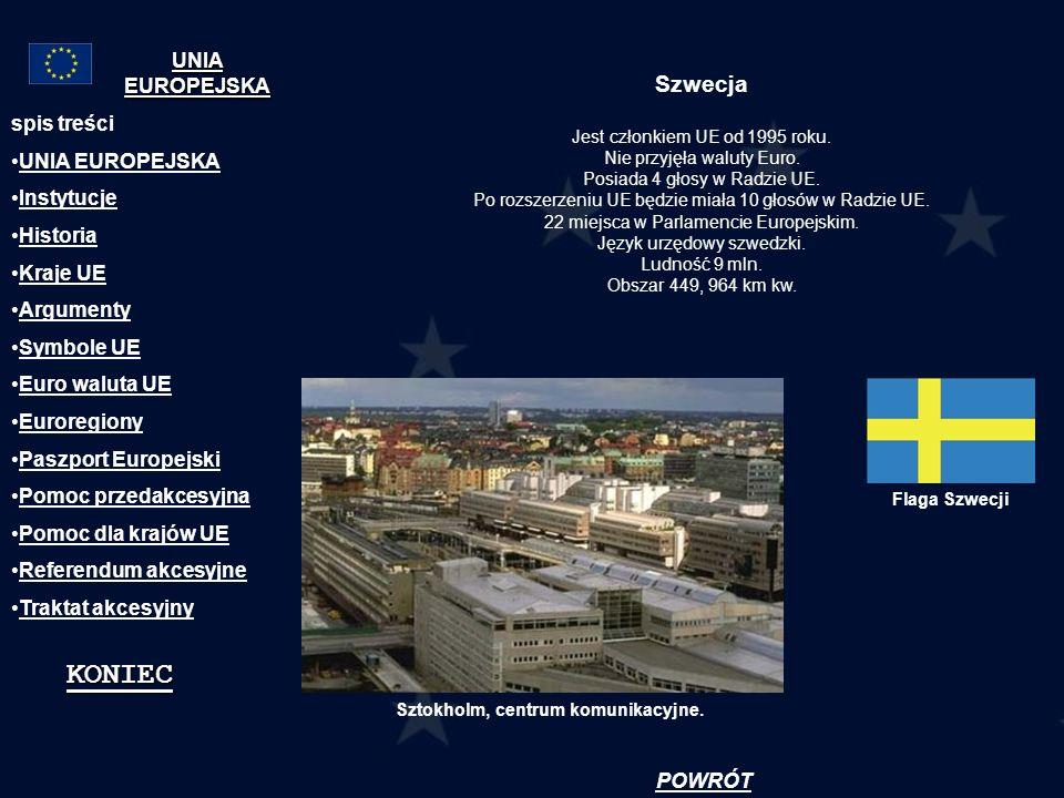 KONIEC Szwecja UNIA EUROPEJSKA spis treści UNIA EUROPEJSKA Instytucje