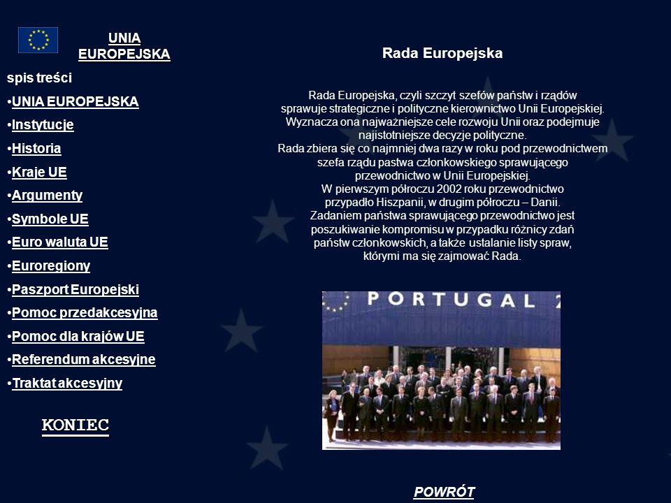 KONIEC Rada Europejska UNIA EUROPEJSKA spis treści UNIA EUROPEJSKA