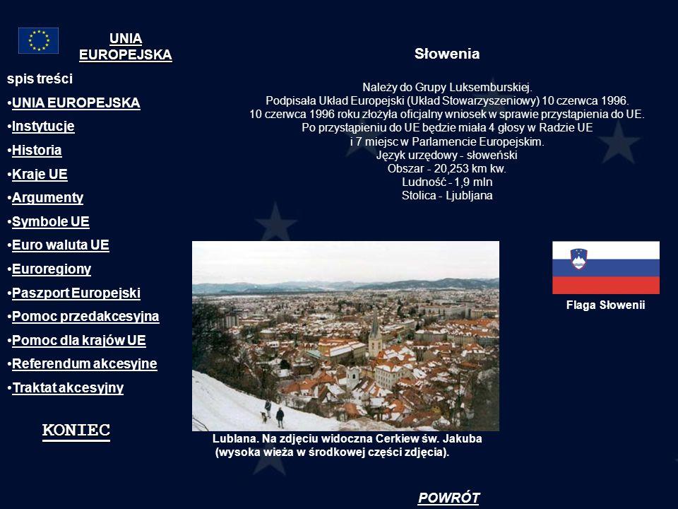 KONIEC Słowenia UNIA EUROPEJSKA spis treści UNIA EUROPEJSKA Instytucje