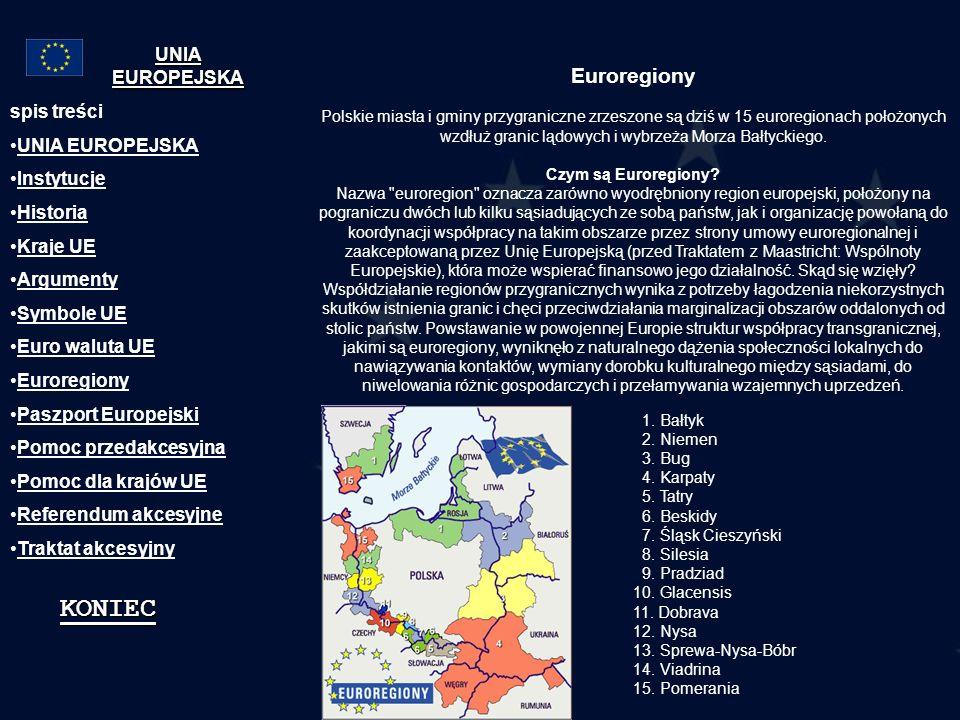 KONIEC Euroregiony UNIA EUROPEJSKA spis treści UNIA EUROPEJSKA