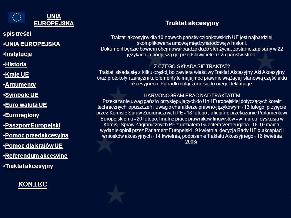 KONIEC Traktat akcesyjny UNIA EUROPEJSKA spis treści UNIA EUROPEJSKA