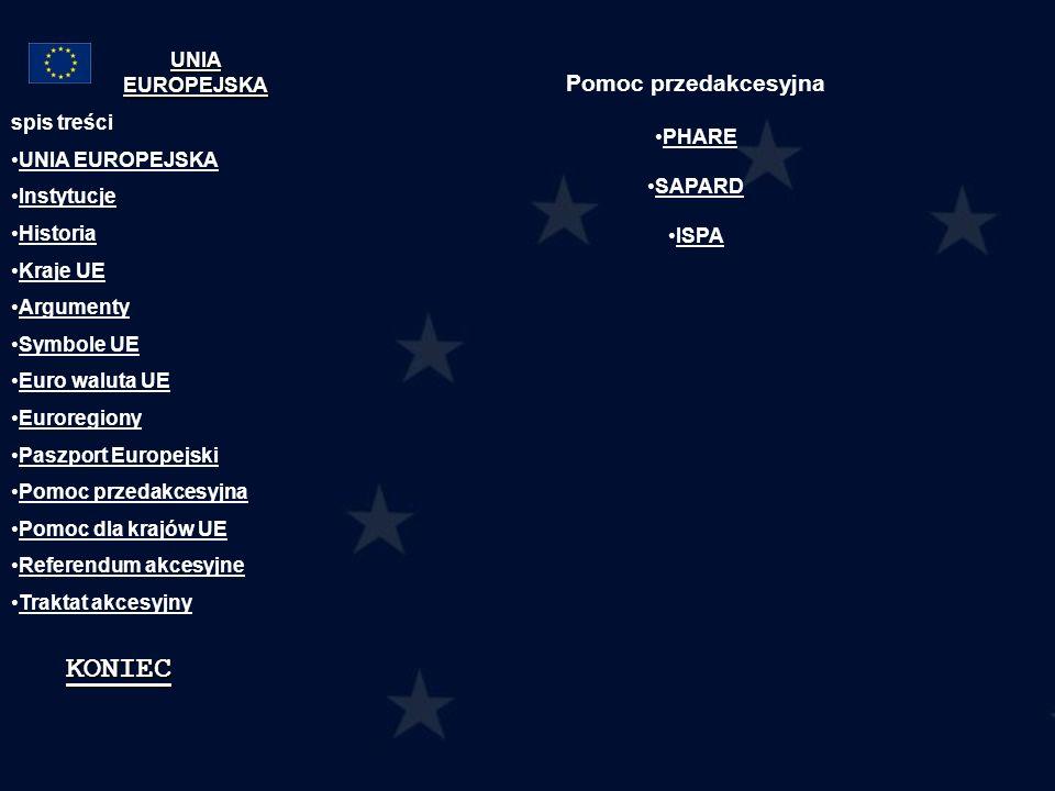 KONIEC Pomoc przedakcesyjna UNIA EUROPEJSKA PHARE spis treści