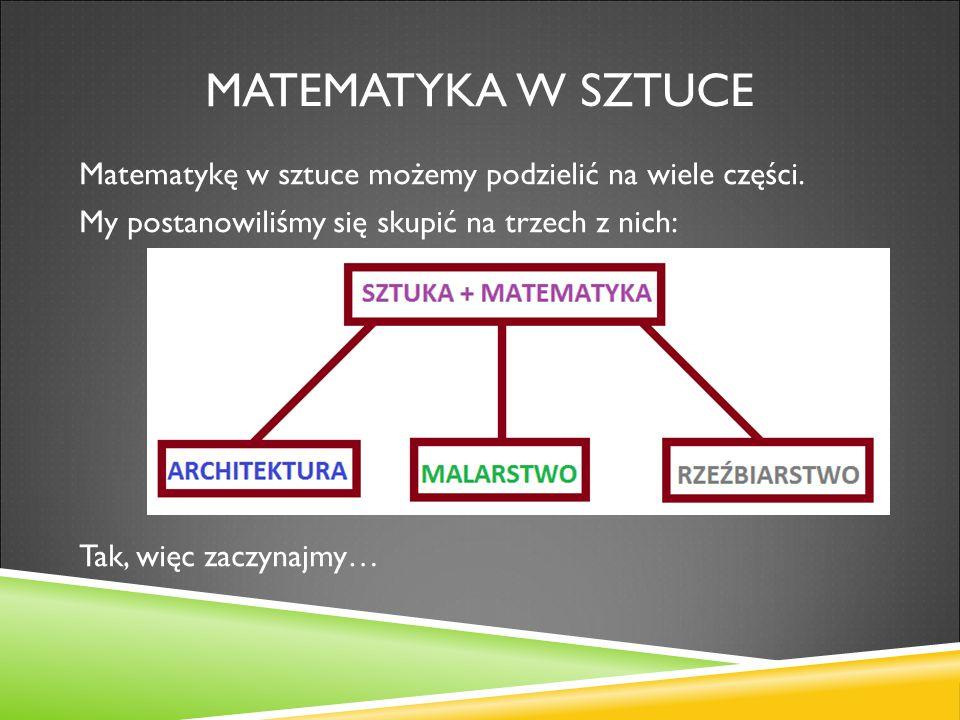 Matematyka w sztuce Matematykę w sztuce możemy podzielić na wiele części.