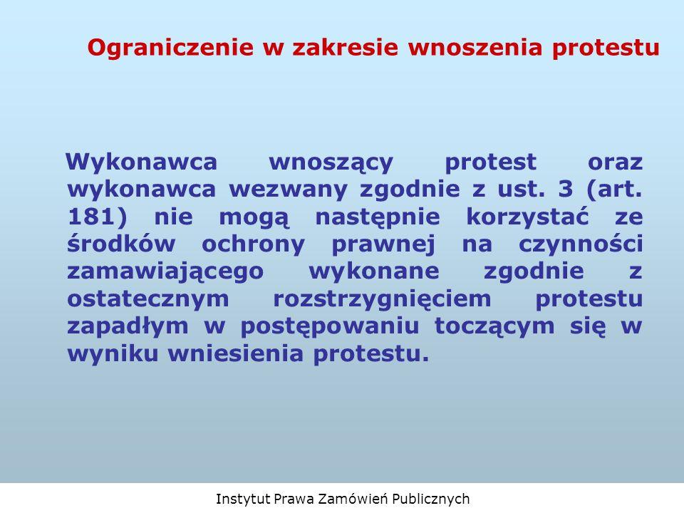 Ograniczenie w zakresie wnoszenia protestu