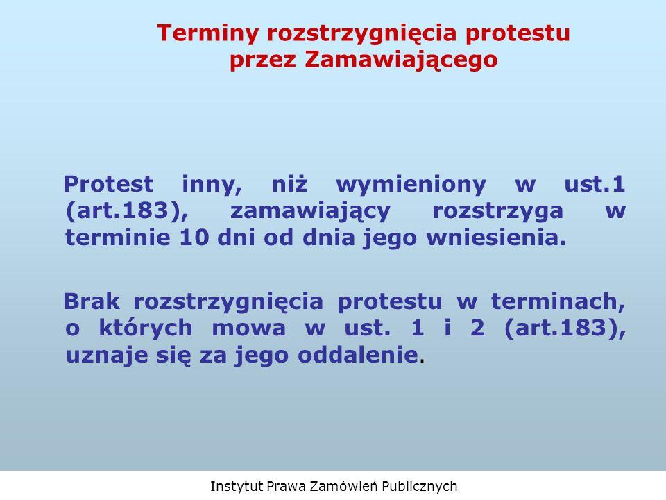 Terminy rozstrzygnięcia protestu przez Zamawiającego