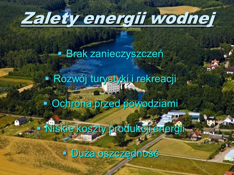 Zalety energii wodnej Brak zanieczyszczeń Rozwój turystyki i rekreacji