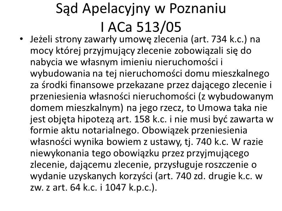 Sąd Apelacyjny w Poznaniu I ACa 513/05