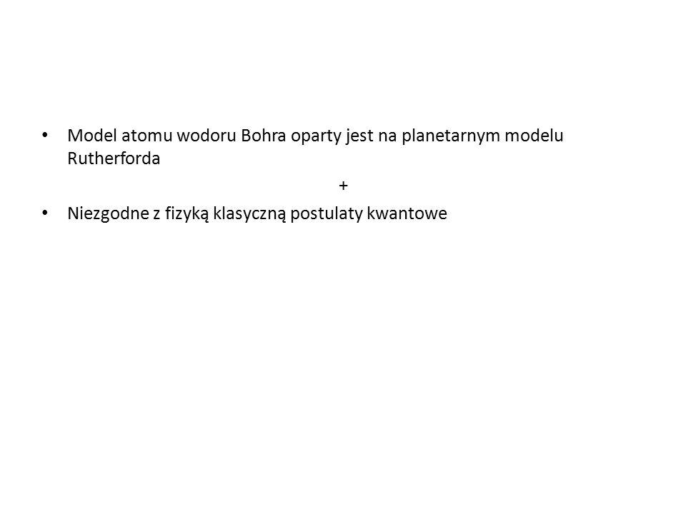 Model atomu wodoru Bohra oparty jest na planetarnym modelu Rutherforda